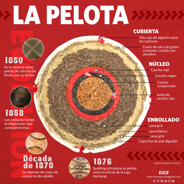 Infografía de la estructura de las pelotas de béisbol